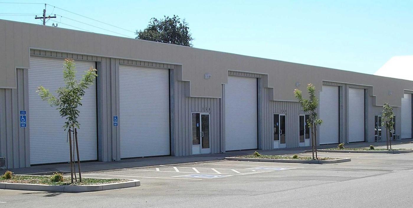 Commercial building with garage doors
