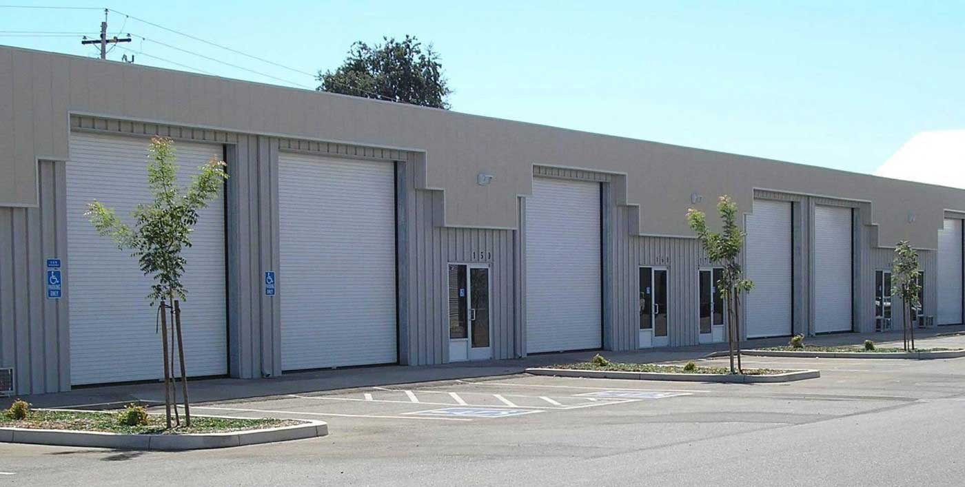 Commercial building with garage doors