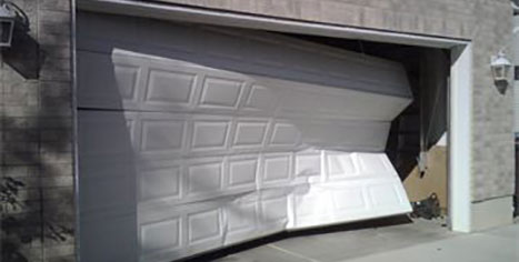 Damaged garage door photo