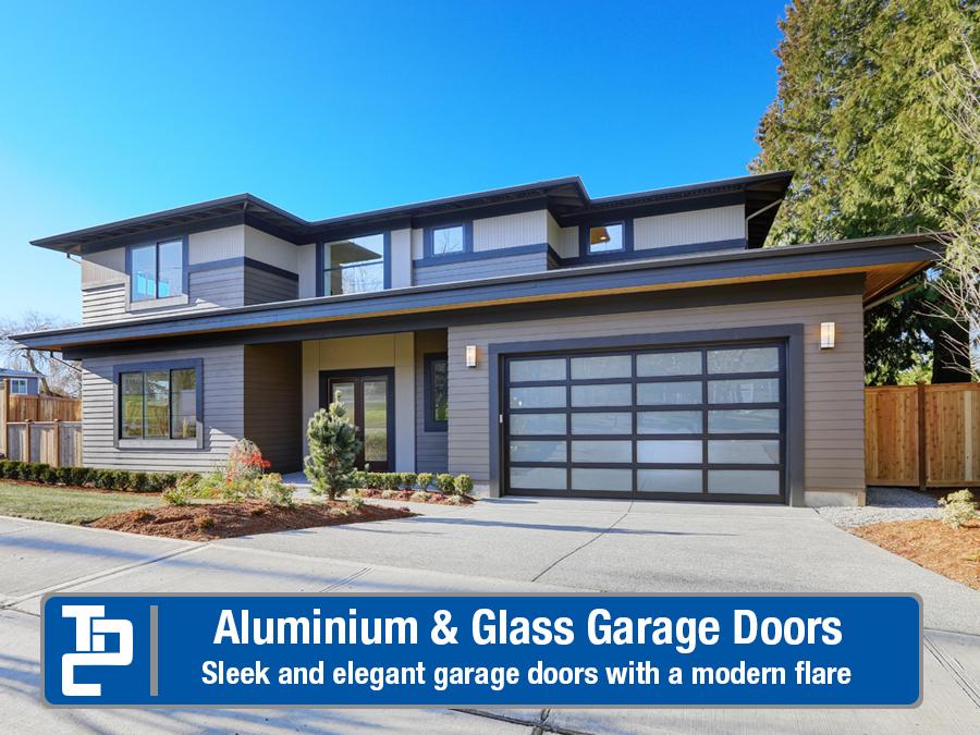 Modern home with Aluminum & Glass Garage door with text saying Aluminum and Glass Garage Doors, Sleek and elegant garage doors with a modern flare