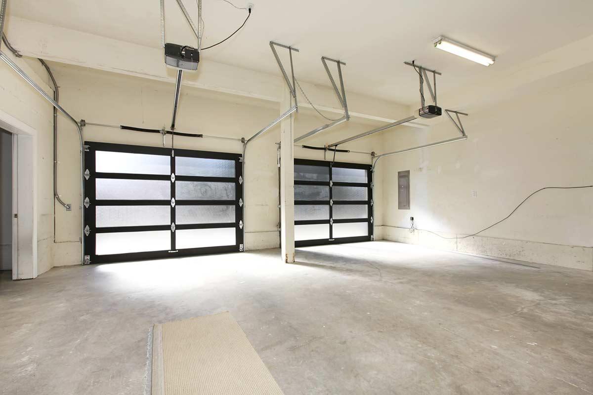 Garage with glass sectional garage doors